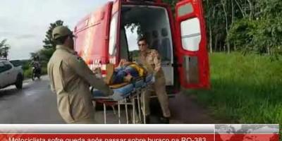 Motociclista sofre queda na RO 383