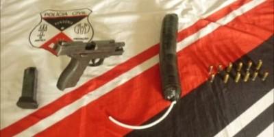 Vilhena - Polícia Civil apreende artefato explosivo e uma arma de uso exclusivo das forças de segurança