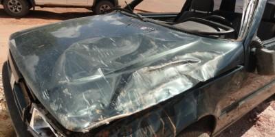 Novo Horizonte -  Veículo furtado em Rolim de Moura é encontrado capotado na linha 152