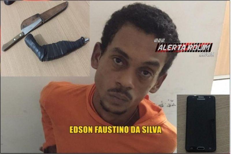Rolim de Moura – Suspeito é preso em flagrante pela PM, após roubo no Centro da cidade