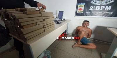 PM apreende mais de 70 quilos de Maconha e velho conhecido da polícia, em Ji-Paraná