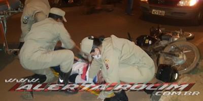 Rolim de Moura – Casal sofre queda de moto após condutor bater em cachorro que atravessou a via no Bairro São Cristóvão