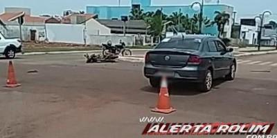 Rolim de Moura – Colisão entre carro e moto resulta em uma vítima encaminhada ao pronto-socorro