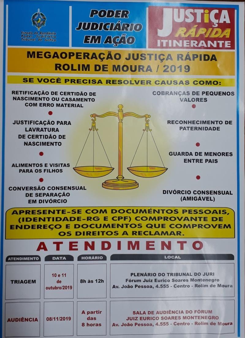 Rolim de Moura - Triagens da Operação Justiça Rápida serão em Outubro