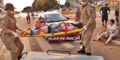 Rolim de Moura - Simulação de acidente de pedestres atropelados por carro ao passar sobre faixa é realizada durante o encerramento da Semana Nacional do Trânsito
