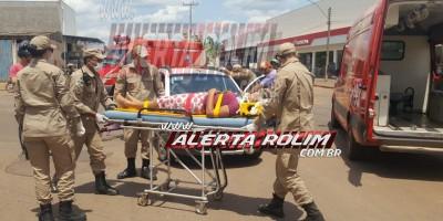 Rolim de Moura – Carro atinge bicicleta e mulher é encaminhada ao pronto-socorro pelos bombeiros