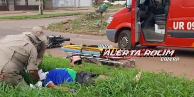 Rolim de Moura –  Colisão entre motocicletas resulta em duas vítimas socorridas pelos bombeiros
