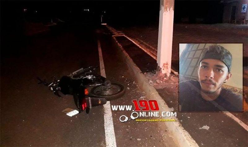 Jovem morre após perder o controle de motocicleta e bater em poste, em Alta Floresta