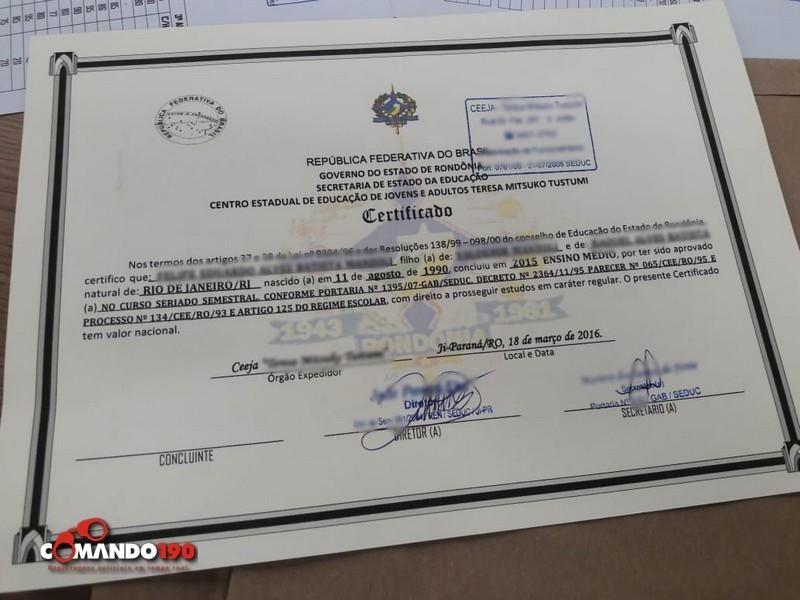 Polícia Civil desmantela quadrilha que falsificava certificados do Ensino Médio, em Ji-Paraná; Maior parte dos clientes são jovens que estão estudando na Bolívia