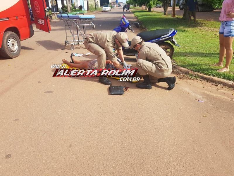 Rolim de Moura – Mulher sofre queda de moto após passar por lombada na Avenida Norte Sul