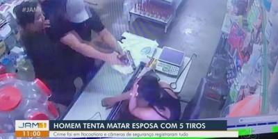 Vídeo - Homem tenta atirar mais de cinco vezes contra esposa e arma falha, no Amazonas