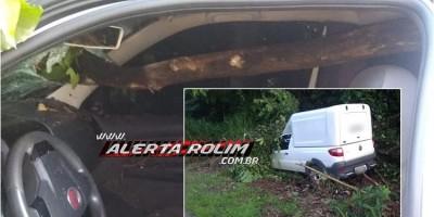 Nova Brasilândia – Durante acidente na RO-010, galho de árvore atravessa para-brisa de carro e atinge condutor