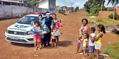 Várias crianças na área do 10º BPM tem singelos sonhos realizados pela Polícia Militar
