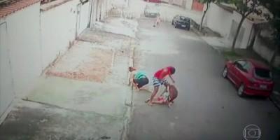 Vídeo mostra jovem salvando criança de ataque de pitbull no Rio de Janeiro
