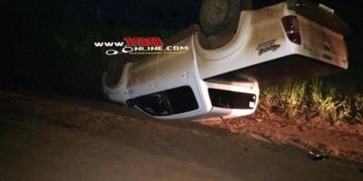 Motorista perde controle da direção e capota caminhonete, em Alta Floresta