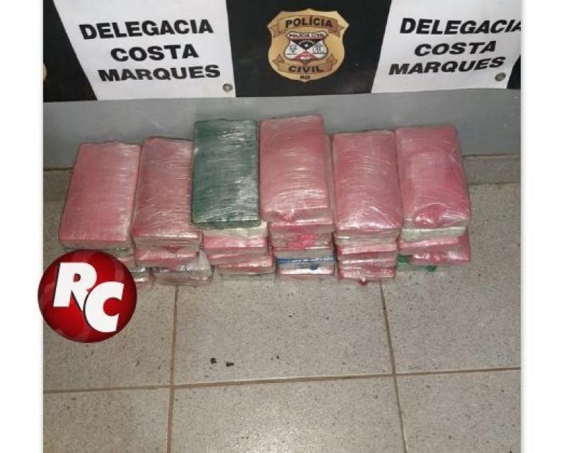 Polícia Militar troca tiros com traficantes e apreende 36kg de Cocaína e prende um suspeito em Costa Marques