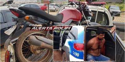Rolim de Moura – Foragido da Justiça pratica roubo e acaba preso em flagrante pela PM com moto roubada e adulterada