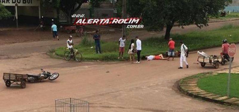 Rolim de Moura – Colisão traseira envolvendo duas motos resulta em um ferido nessa manhã de sábado
