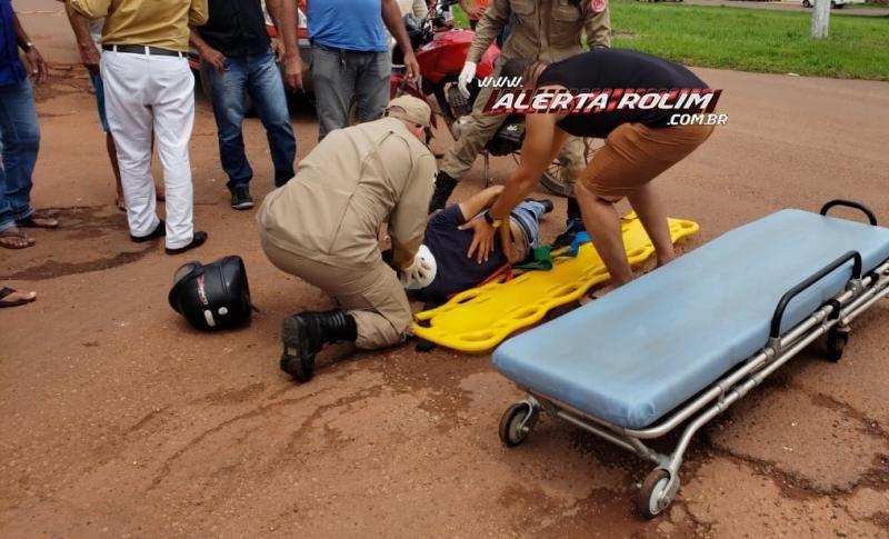 Rolim de Moura - Acidente no cruzamento da Rua Urupá com Av. 25 de Agosto resulta em uma pessoa ferida – Vídeo