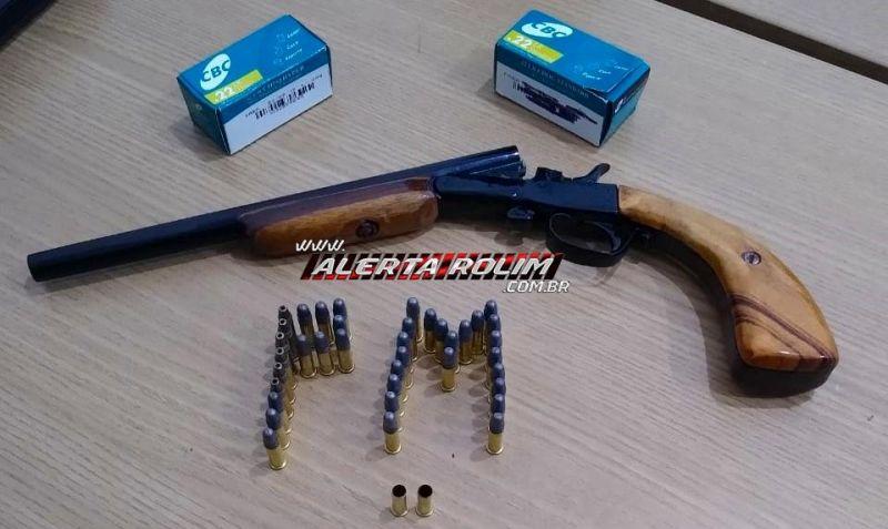 Rolim de Moura – Discussão em família termina com agressões e disparos de arma de fogo; uma garrucha e várias munições foram apreendidas pela PM