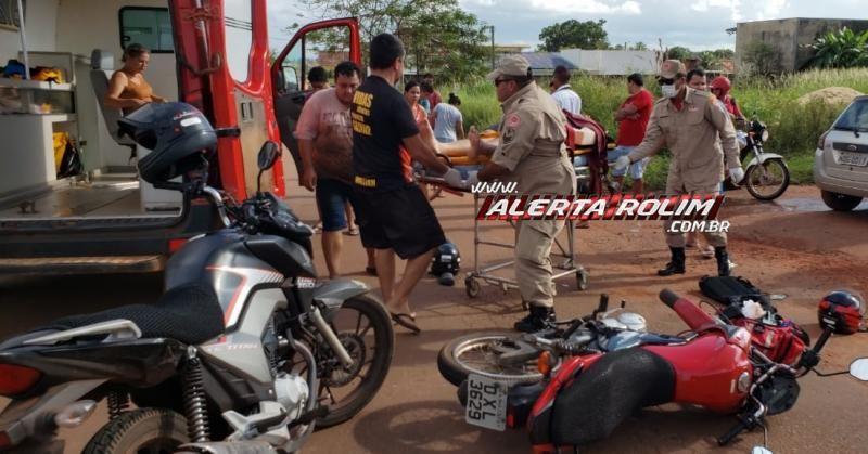 Rolim de Moura – Mãe e filho ficam feridos em colisão envolvendo moto e carro na Avenida Norte Sul