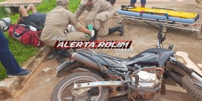 Rolim de Moura – Motociclista é socorrido pelos bombeiros  após se envolver em acidente de trânsito no Centro da cidade