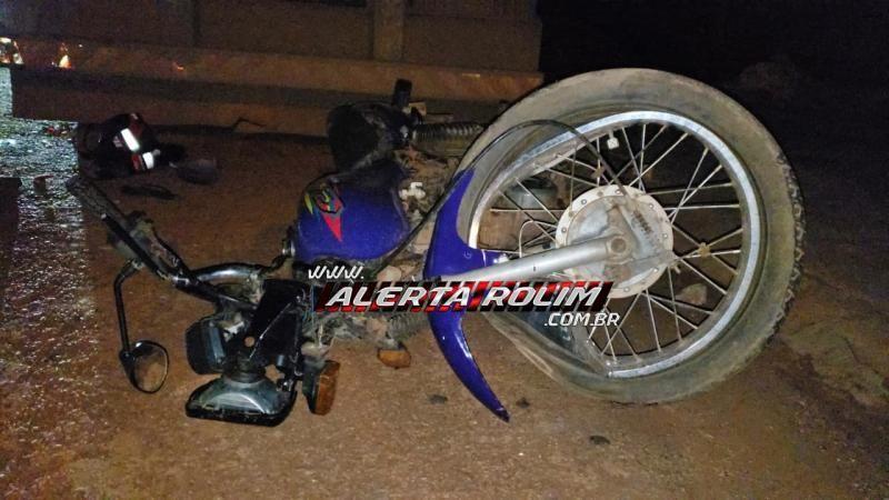 Rolim de Moura – Urgente – Motociclista é socorrido em estado grave, após colidir em traseira de carreta estacionada