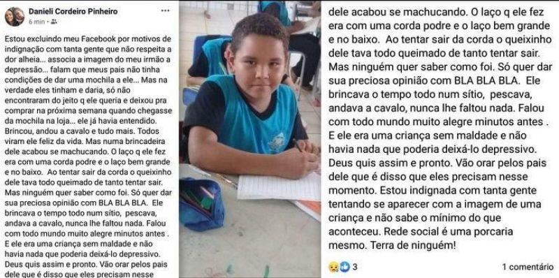 """Theobroma: """"Ele não cometeu suicídio, foi um acidente"""" afirma irmã do menino de 10 anos"""