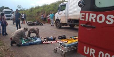 Rolim de Moura –Motociclista fica gravemente ferido após se chocar na traseira de caminhão baú na RO-010