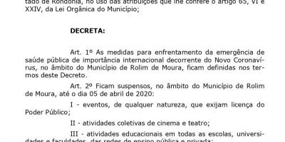 CORONAVÍRUS  – Confira na íntegra o Decreto da Prefeitura Municipal de Rolim de Moura