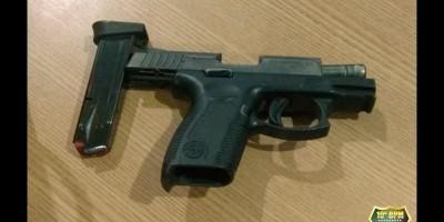 Pistola calibre .380 é apreendida pela PM, em Nova Brasilândia