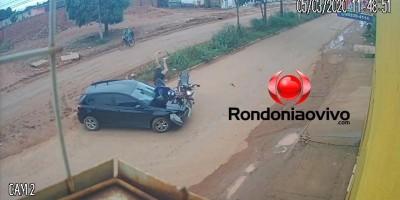 Câmera de segurança registra grave acidente entre carro e moto que estava na contramão,  em Porto Velho