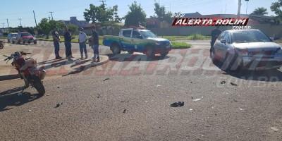 Mais uma colisão entre carro e moto foi registrada nesta manhã, em Rolim de Moura