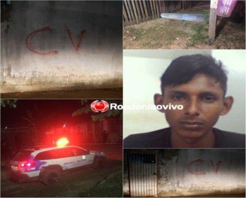Bando em motocicletas mata ex-presidiário a tiros e picha sigla de facção