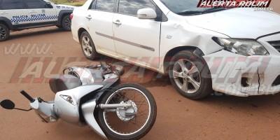 Carro e moto colidem nesta manhã de segunda no Bairro Planalto, em Rolim de Moura