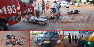 Mais um motociclista inabilitado se envolve em acidente de trânsito em Rolim de Moura; ele fraturou uma das pernas – Vídeo
