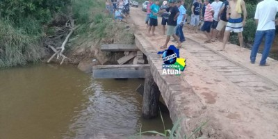 Motocicleta cai de ponte na Linha-205, entre Ji-Paraná e Rondominas, e criança desaparece nas águas