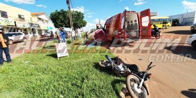 Colisão entre carro e moto na Av. Norte Sul resulta em uma pessoa ferida, em Rolim de Moura