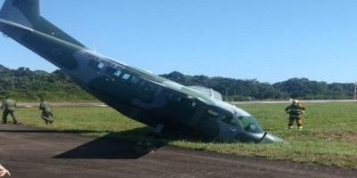 Avião da FAB perde freio e sai da pista em aeroporto de Porto Velho