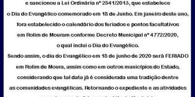 Dia do Evangélico é feriado municipal amanhã, em Rolim de Moura