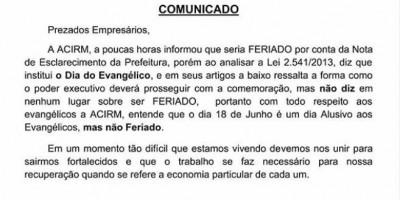 Em nota, ACIRM diz que comércio deverá funcionar normalmente amanhã, em Rolim de Moura