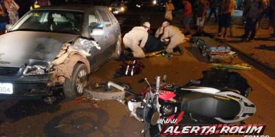 Grave colisão entre carro e moto resulta em duas pessoas feridas, em Rolim de Moura - Vídeo