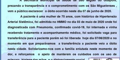 Idosa, de 75 anos, é a terceira pessoa a morrer pela Covid-19, em São Miguel do Guaporé