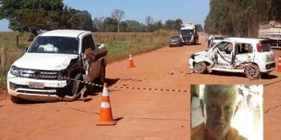 Idoso morre após colisão entre veículos na área rural de Cerejeiras