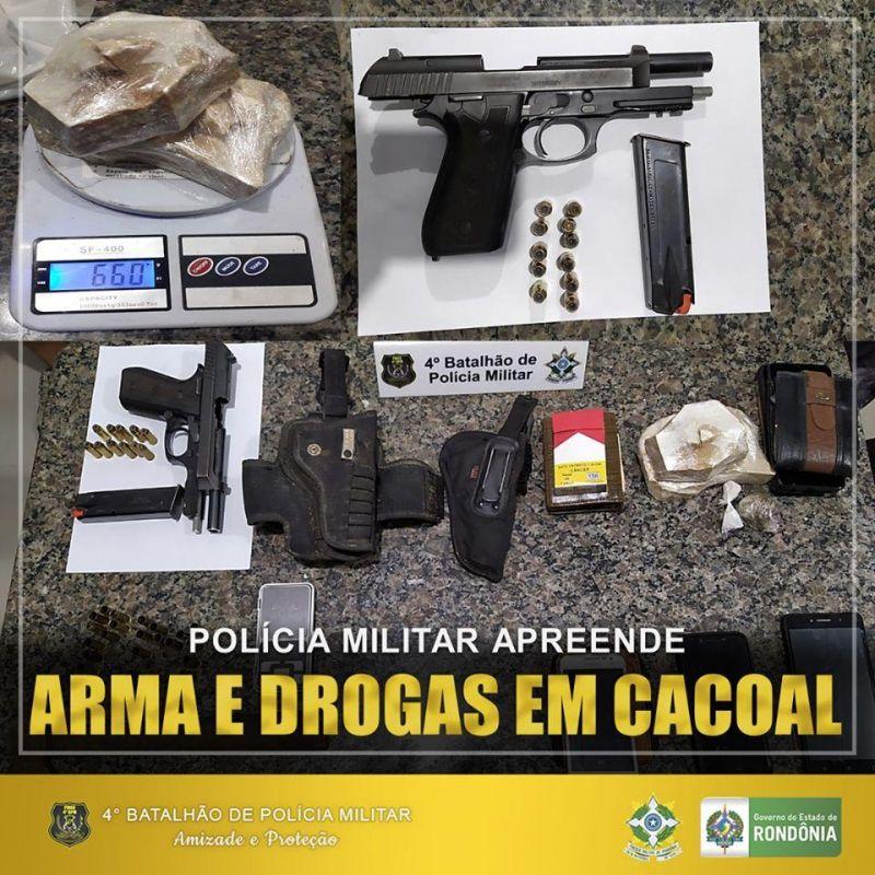 Nesse fim de semana, a Polícia Militar apreendeu drogas, arma, munição e apresentou 5 pessoas na delegacia, em Cacoal