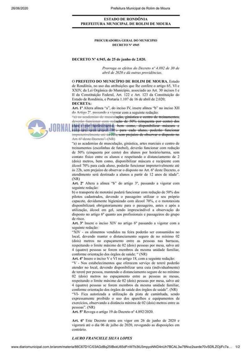 Novo decreto de Rolim de Moura flexibiliza o retorno de atividades e autoriza venda e consumo de bebidas alcoólicas no local