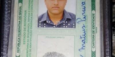 Documento encontrado em nome de Fábio Mateus P. Gomes, em Rolim de Moura