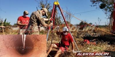 Bombeiros são acionados para retirarem gato dentro de poço no Bairro Cidade Alta, em Rolim de Moura - Vídeo