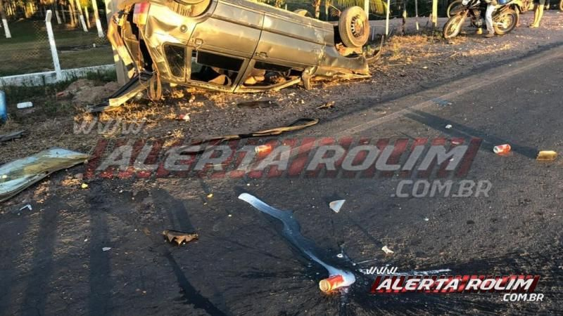 Dois veículos capotam durante grave colisão frontal na RO-383, em Santa Luzia do Oeste