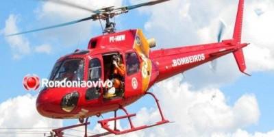 Grupamento aéreo do Corpo de  Bombeiros socorre motociclista vítima de grave acidente na BR-364, em RO